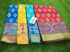 🌸🌸🌸🌸🌸🌸 Rajkot semi Pattu silk sarees Contrast blouse Grab it soon.