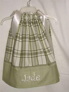 Sage & cream plaid Pillowcase Dress by BlueTurtle97, via Flickr