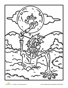 Lori K.... check this out! Worksheets: Angry Zombie Coloring Page