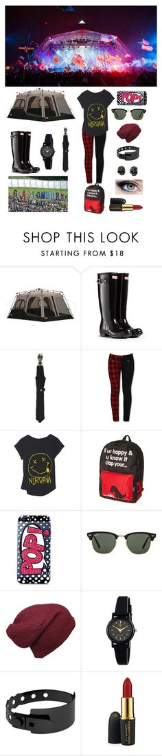 """Glastonbury ready."" by olive-seidler ❤ liked on Polyvore featuring Coleman, Hunter, Alexander McQueen, Skinnydip, Ray-Ban, American Apparel, Cast of Vices and MAC Cosmetics"
