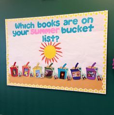 """Which books are on your summer bucket list?""  Sand castle template found online & printed on different colored construction paper for a rainbow. I attached a construction paper shovel to each bucket.  I asked students which books they planned to read this summer.  Then I printed the book covers, attached the pictures to the buckets.  I printed a picture of each of the students, & attached it to the shovels, matching the books to the student."