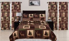 King, Full/Queen, or Twin 2 or 3 Piece Quilt Rustic Cabin Lodge Deer Bear Coverlet Bedspread Set and Curtain Panel Pair. Transform your bedroom into a cozy cabin retreat with these quilt and window curtain sets. Rustic Quilts, Rustic Bedding, Bedding Decor, Bedding Sets, Cozy Cabin, Cozy House, Cozy Bed, Quilt Sets, Bed Design