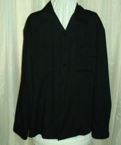 Retro 50's Style Black Rayon Long Sleeve Mens Kennington Flap Pocket Shirt for sale at irishcherrydoll.com