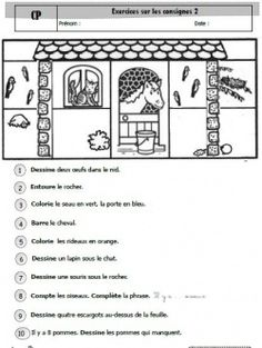 Exercices pour travailler les consignes French Teacher, Teaching French, Listen And Speak, French Worksheets, Education And Literacy, French Grammar, Core French, French Classroom, French Resources