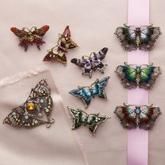 Papillion Jeweled Butterfly Pin Asst 4 Shapes © Twos Company
