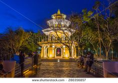 "Memorial hall at ""Kao Rang"" hill in the night time, Phuket, Thailand - stock photo"
