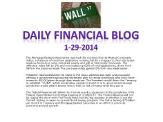 Daily Market News 1-29-2014.  www.equitysourcemortgage.com