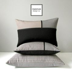Taupe & Black Outdoor Pillow Cover Decorative Grey by Mazizmuse