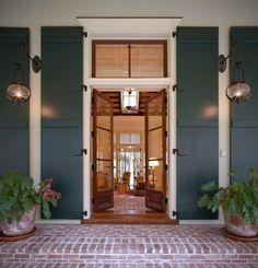 Transom Window & Shutters on Front Door Entry