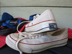 Vintage 1960's  converse low top ox white 9.5 MADE IN USA 9 blue heel tag