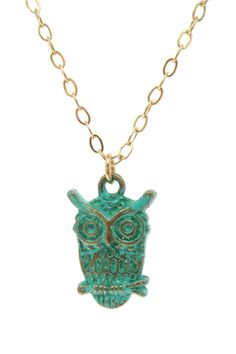 Patina Owl Necklace