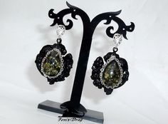 "Black earrings ""Mezze"" from the collection ""Black Vintage"" in Vintage, Steampunk, Gothic styles"