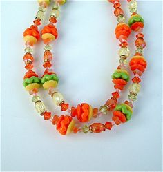 Colorful Vintage Beaded Necklace Bright Orange Green by kiamichi7, $18.00