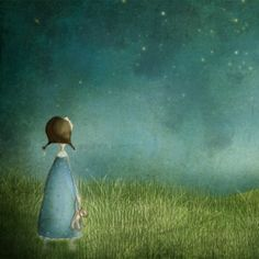 Beneath the Stars - Girl watching the blue sky at night - Illustration print (7 x 5). kr139,00, via Etsy.