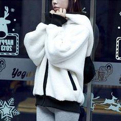 College Style Girl Plush Ears Warm Cartoon Panda Bear Fleece Hoodie Hooded Outerwear Coat