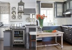 Gray Kitchen Cabinets -- so awesome.