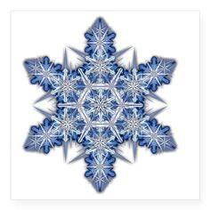 """Snowflake Designs - 003 - t Square Sticker 3"""" x 3"""""""