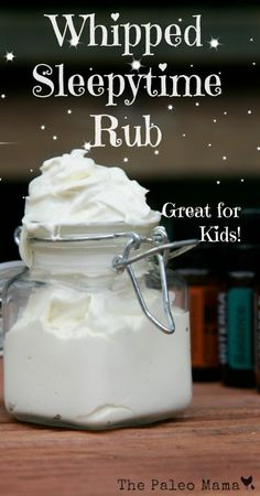 Your kids, and even yourself, will love this whipped sleepytime rub recipe. Rub it on your feet before going to bed to promote a restful slumber. https://thepaleomama.com/2014/07/03/whipped-sleepytime-rub/