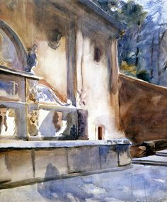 The Athenaeum - Alhambra, Fountain of Charles V (John Singer Sargent - )