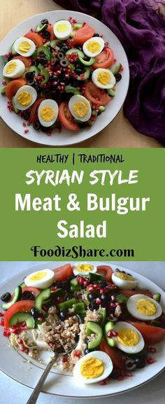 Syrian Style Meat & Bulgur Salad This delicious and healthy dish is inspired by the traditional Syri Bulgur Salad, Meat Salad, Couscous Salad, Healthy Dishes, Healthy Salad Recipes, Healthy Meals, Delicious Recipes, Mexican Fruit Salads, Mozzarella Salad