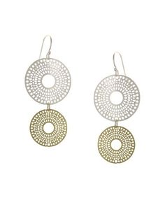 This Gold & Silver-Plated Disk Drop Earrings is perfect! #zulilyfinds
