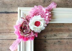 4  x  2 1/2 Pretty Pink Headband Newborn Photography Prop by CappyClips, $8.00