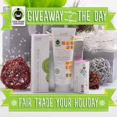 Acure Organics uses Fair Trade teas, french green clay, organic lemon peel, and organic sea kelp to make this gentle exfoliant. Enter to win it here: fairtradeusa.org/holidays/gift-guide#giveaway [today only!]