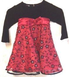 Baby Dress 24 Mo Toddler Red Black Velvet Bodice Nylon & Tulle Skirt Beautiful  #BlueBeriBoulevard #DressyEverydayHoliday