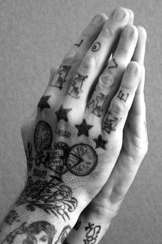 stars, bicycle and love #hand #finger #tattoos