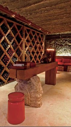 Beautifully clean and organised wooden wine cellar Wine Cellar Basement, Wine Cellar Racks, Wine Rack, Tasting Room, Wine Tasting, Cave A Vin Design, Bar Deco, Wine Storage Cabinets, Home Wine Cellars