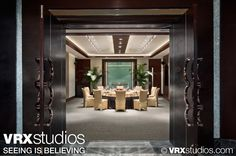 This image is of the sleek and sophisticated Fortune 1 meeting area at the #Hilton Hongqiao #Shanghai. View more stunning photography here: http://www.vrxstudios.com