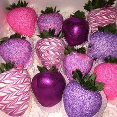 Purple chocolate covered strawberries.. #EdibleGlitter
