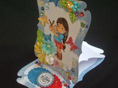 Márcia - cartões: Easel card azul