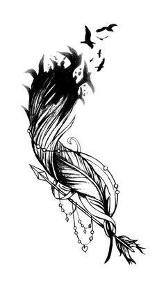Dit is een ontwerp van de tatoeage van een veer met een zwerm vogels uit uit te breiden. Frezen en een pijl die zijn gekoppeld aan de onderkant, handgetekende en gekleurde, gemaakt door mijzelf.  Het is bedoeld om te passen een schouder, onderarm, kant-ribbenkast, dij of kalf ~ het is een vrij veelzijdig ontwerp, maar wellicht worden aangepast door uw tatoeëerder. Het kan ook werken als een stuk kant-rib. Aangezien iedereen een beetje anders is, zal uw tatoeëerder moeten de grootte aanpassen…