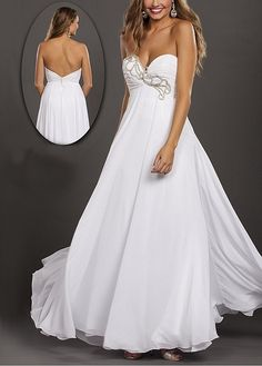 White Chiffon Embellished Gown