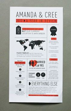 Great year in review holiday card with infographics. Design Amanda Jane Jones.  #infographics