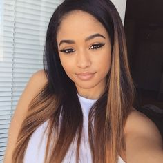 Blonde Brown Highlights Dip Dye Ombre Hair Hairstyle Straight Mixed Chicks Pretty Girl Swag Beautiful Kayla Phillips