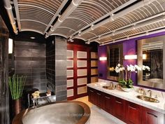 Asian-inspired design doesn't have to be full of ancient Japanese artifacts or chinoiserie decor. This modern Asian bathroom incorporates the style's natural elements, like bamboo and orchids, with modern materials and hues. Bathroom Design Inspiration, Bad Inspiration, Bathroom Interior Design, Design Ideas, Design Styles, Design Trends, Design Color, Interior Decorating, Purple Bathrooms