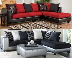 Living roomblack couches with red pillows no leather sofass