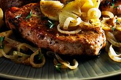Pork Cutlet with Apples and Onions made using the KitchenAid® Spiralizer Attachment with Peel, Core and Slice. Click the picture for the recipe and visit http://kitchen.ai/SH0R6 for more information on the Spiralizer Attachment.