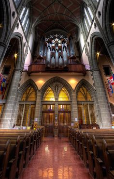 ✮ View of Christ Church Cathedral featuring the pipe organ. The organ comprises of 4,136 pipes in 86 ranks with 61 stops. Victoria, BC, Canada.