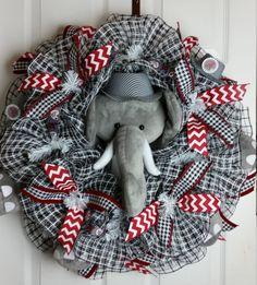 Deco Mesh Alabama Crimson Tide Wreath with Elephant by WreathsbyCrazyLady on Etsy