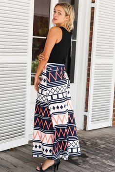 Chic Boho Geometry Printed Maxi Skirt Boho Outfits, Fashion Outfits, Women's Fashion, Printed Maxi Skirts, Cute Crop Tops, Boho Skirts, T Shirt Diy, Skirt Fashion, Street Style Women