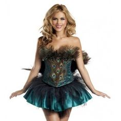 Princess Peacock Adult Womens Costume Price: $160.00  Real peacock feathers and hand-sewn jewels highlight this tutu style dress. 4 Piece Princess Peacock includes Corset Skirt Tail Built-in Petticoat.  #cosplay #costumes #halloween