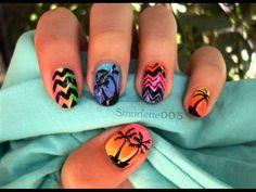 Neon palms nails: sponging tehnique nail art tutorial