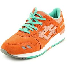 Asics Asics Gel-Lyte Iii Men Round Toe Suede Orange Sneakers (250 RON) ❤ liked on Polyvore featuring men's fashion, men's shoes, men's sneakers, orange, shoes, mens shoes, mens suede sneakers, mens suede shoes, mens orange shoes and asics mens shoes
