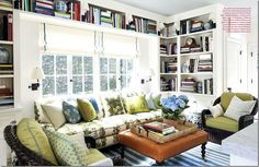 Mark Sikes via Cote de Texas.bright, inviting, comfortable and books. Rugs In Living Room, Living Room Furniture, Living Spaces, Mark Sikes, Interior Design Books, Home Libraries, Keeping Room, Interior Exterior, Family Room