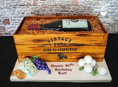 Vintage Wine Vintage Aged to Perfection Wine bottle Crate Cake Birthday Cakes For Men, Happy 60th Birthday, Cake Birthday, Wine Bottle Cake, Wine Bottles, Alcohol Cake, Realistic Cakes, Dad Cake, Custom Cupcakes