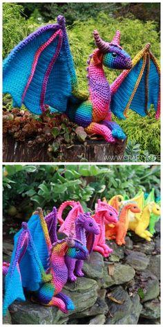 Crochet Dinosaur Patterns, Crochet Dragon Pattern, Crochet Amigurumi Free Patterns, Crochet Doll Pattern, Cute Crochet, Crochet Crafts, Crochet Yarn, Crochet Projects, Crochet Disney