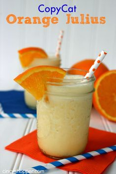 CopyCat Orange Julius Recipe. Perfect Orange Frothy drink. Enjoy at home and save some $$'s this spring and summer.